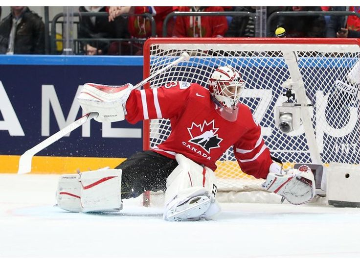 Canada's Cam Talbot #33 scrambles back to his net during gold medal game action against Finland at the 2016 IIHF Ice Hockey World Championship.