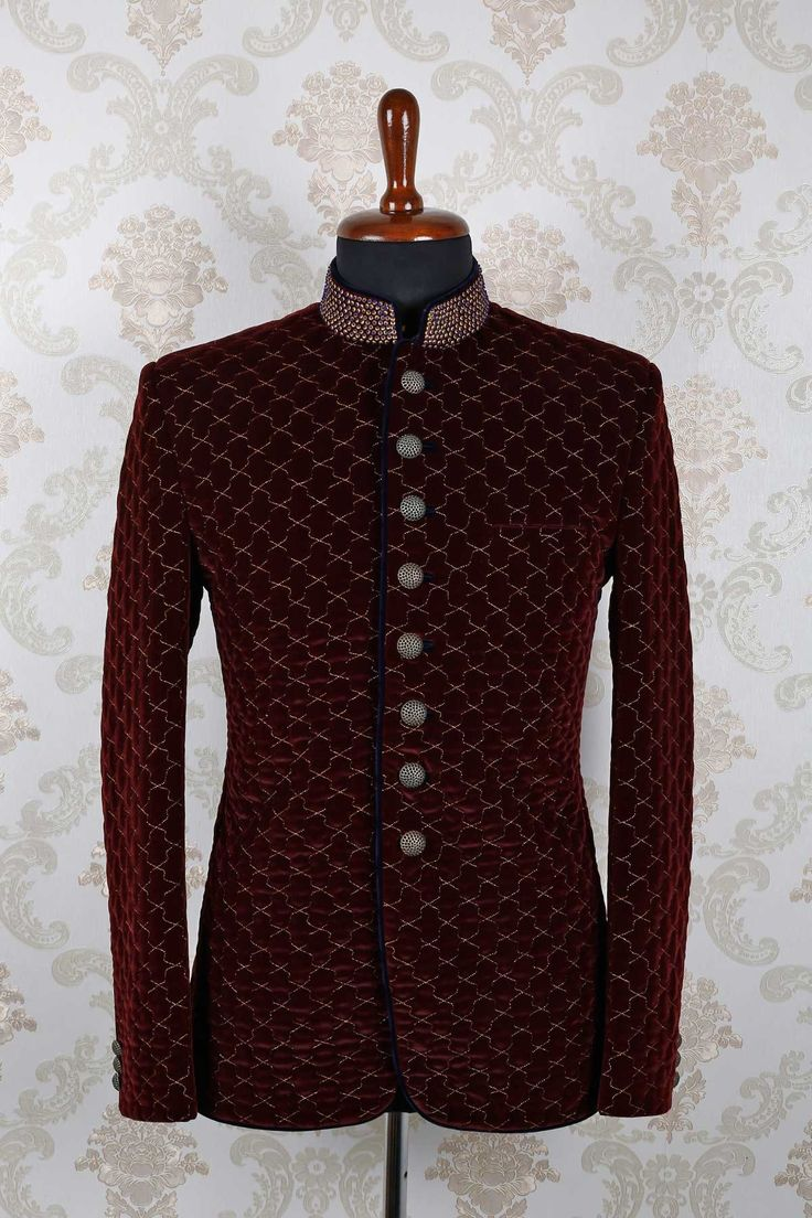 #Maroon and #gold #velvet slim fit pleasing #suit with mandarin collar -ST385