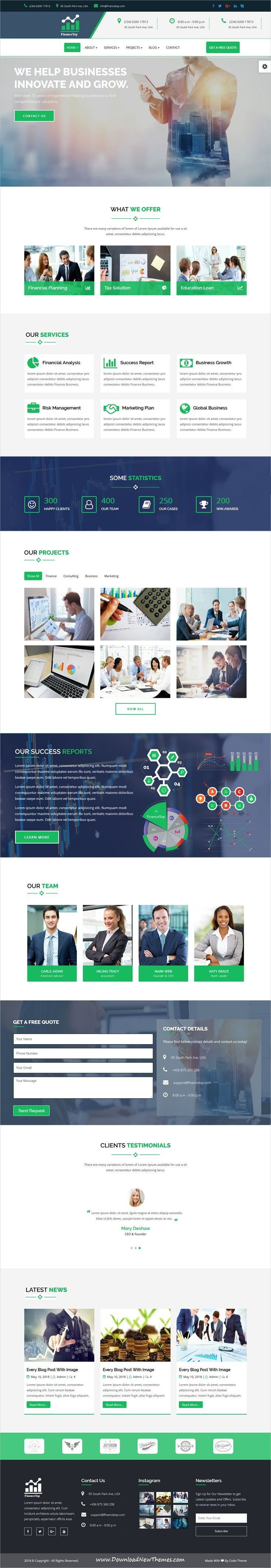 FinanceTop is clean and modern design 6in1 responsive #bootstrap HTML template for #business consulting and #finance agency #website to live preview & download click on image or Visit  #FinanceTemplate