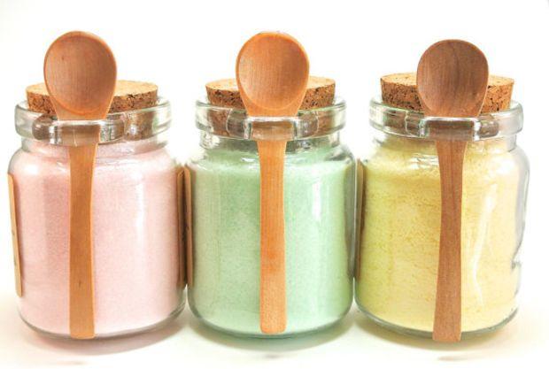 Flavored Sugar Set- Rose, Mint, & Lemon Sugar in Jar with Mini Wooden Spoon for Tea Parties, Coffee, Tea, Rimming Sugar, Lemonade
