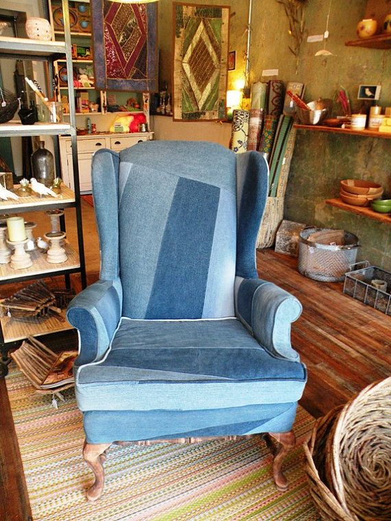 Recycled Denim Wingback Chair Made To Order With By