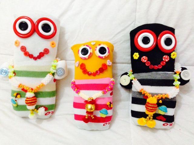 Eu sou meia gente!!!  Jagannatha, Baladeva e Subhadra de meia!!! Socks dolls