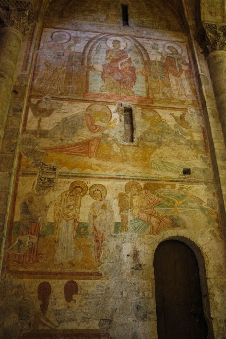In the 1970's  the 19-century top coat of plaster was removed and these richly decorated frescos painted in 1140-1180 we discovered in the Basilica of Saint Sernin in Toulouse France