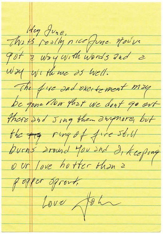 A letter from Johnny Cash to June Carter