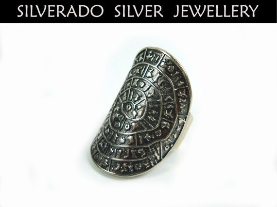Sterling Silver 925 Ancient Greek Minoan Phaistos Disc 34 mm Solid Big Ring on Etsy, 75,00€