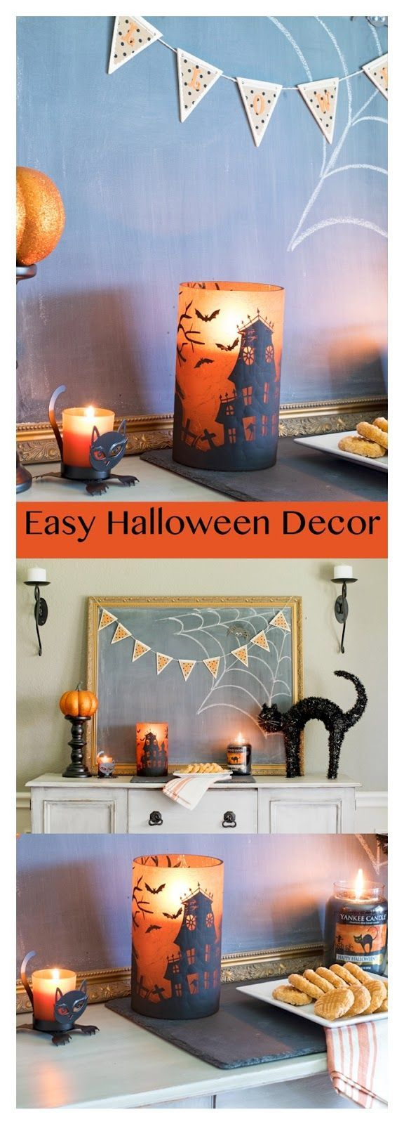 Easy Halloween Decor! Looking for a fast and inexpensive way to style a mantel, buffet or other small space? See how Yankee Candles and a few other thrifted items can make a fun and spooky spot!