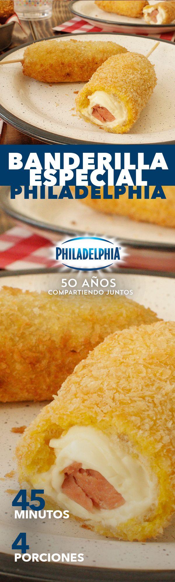 Lo sabemos, tus peques siempre te piden recetas divertidas. Sorpréndelos con esta Banderilla especial Philadelphia.   #recetas #receta #quesophiladelphia #philadelphia #quesocrema #queso #comida #cocinar #cocinamexicana #recetasfáciles #recetasPhiladelphia #recetasdecocina #comer #salchicha #banderilla #recetasniños #antojos #recetabanderilla #recetasniños #salchichas #capear #familia