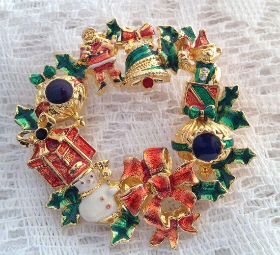 Vintage Christopher Radko Enamel Christmas Wreath Brooch
