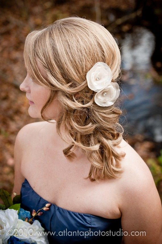 ivory bridal hair flower, Set of Champagne Hair Pins