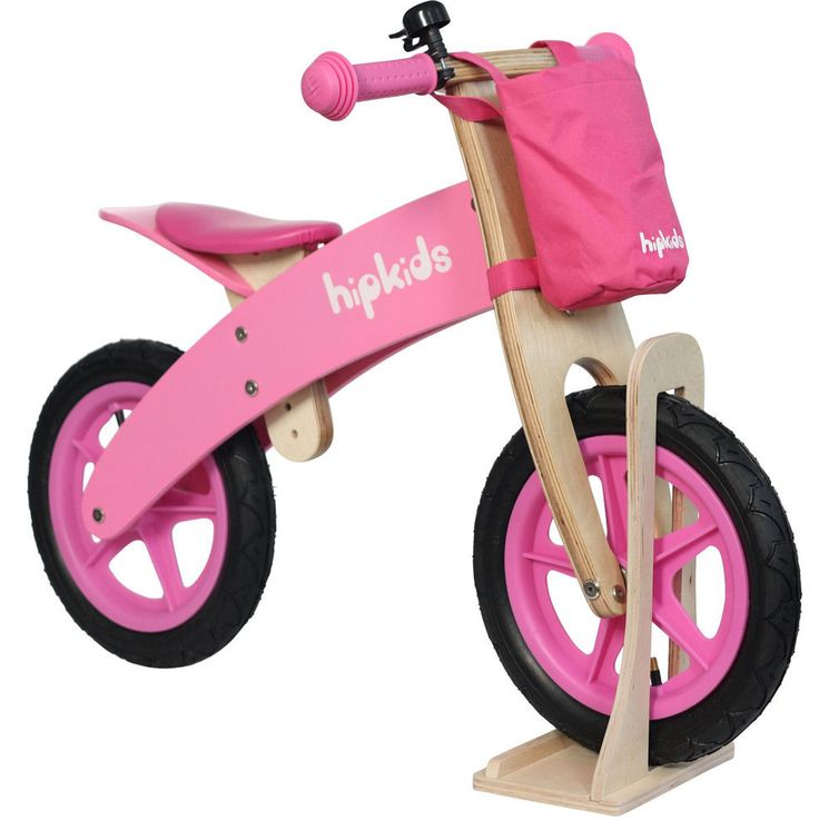 New Pink Childrens Toddlers Wooden Balance Bike Bicycle For Kids