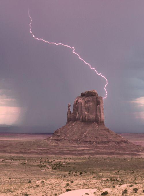 Lightning in the pink sky And desert