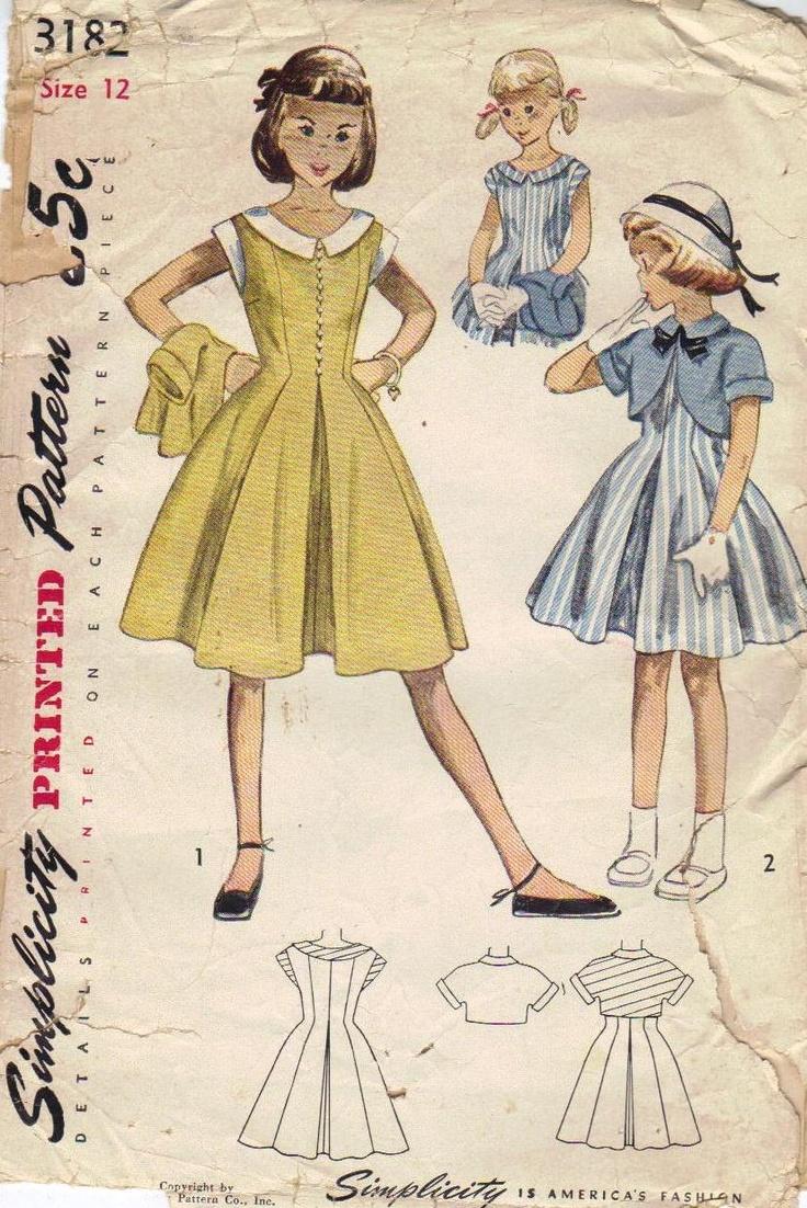 Simplicity Sewing Pattern Girls 50s Full Skirt Dress Round Neckline Short Sleeves Pleated Waist Bolero Kimono Sleeves Bust 30