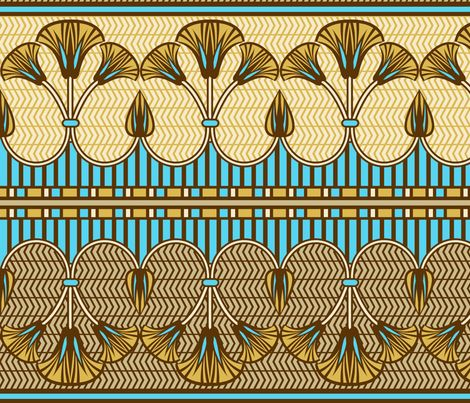 Egyptian design images | Egyptian ornate lily border fabric by cjldesigns on Spoonflower ...