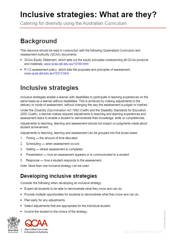 Inclusive strategies: What are they? Catering for diversity using the Australian Curriculum