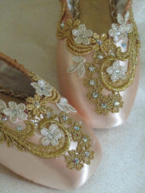 Gold Encrusted Keepsake Decorated Pointe Shoe, Sleeping Beauty, Cinderella and Sugarplum Fairy wow!