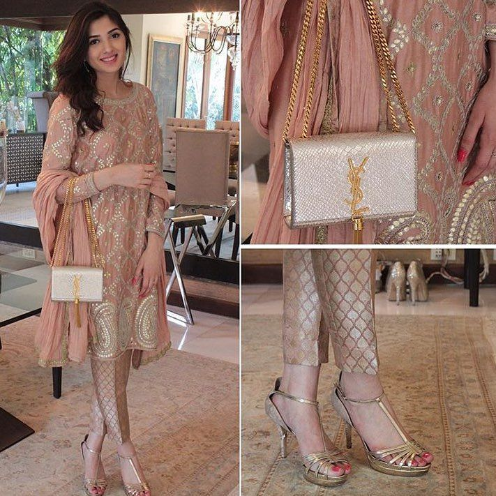 "Lahore Street Style on Instagram: ""How #stunning does Aimen Khan look in #MehreenHumayun? She pairs her look with a #YSL bag and #Charles&Keith heels ✨"""