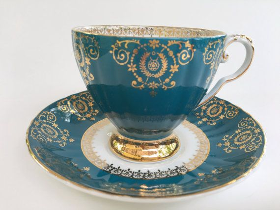 Antique Royal Grafton Tea Cup and Saucer, Aqua Gold Cups, Vintage Tea Cups, English Teacups, Tea Party, Tea Set, Bone China Cups