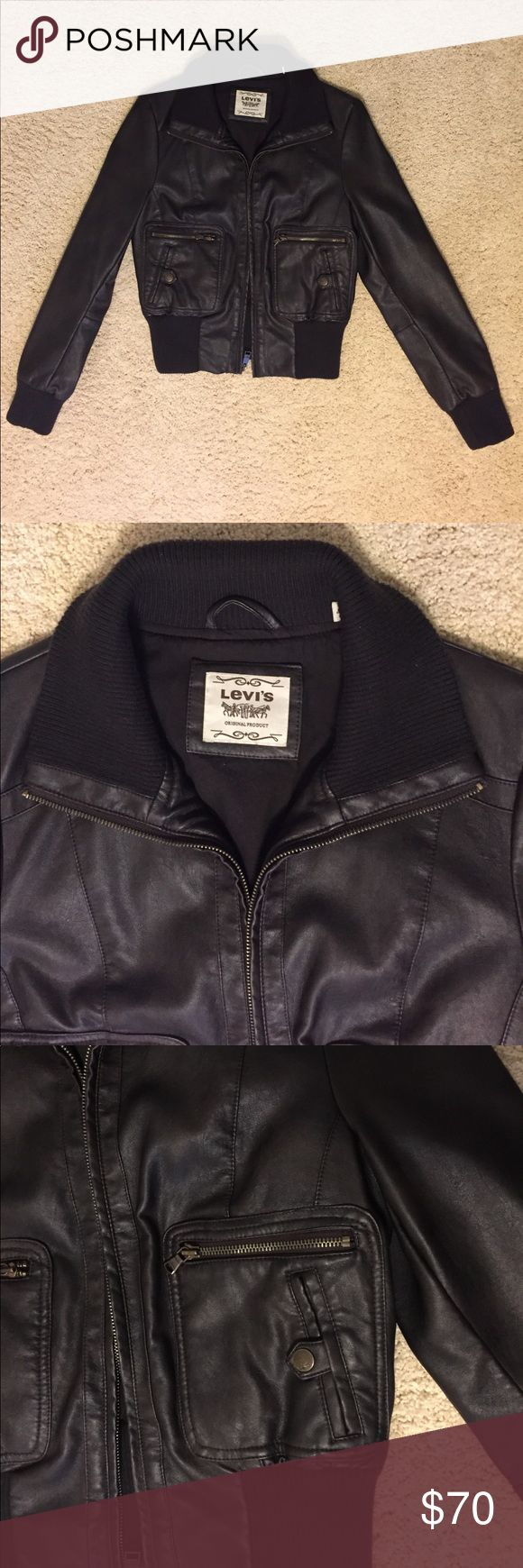Levi's Brown Faux Leather Bomber Jacket Levi's Faux Leather Bomber Jacket, size small. Never worn, in perfect condition. Levi's Jackets & Coats