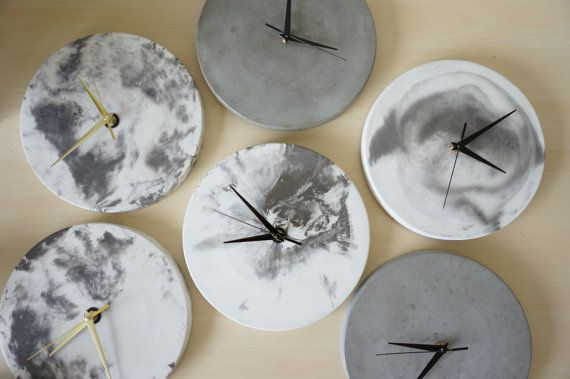 Black Marbled Concrete Clock by SabaiTheCollection on Etsy