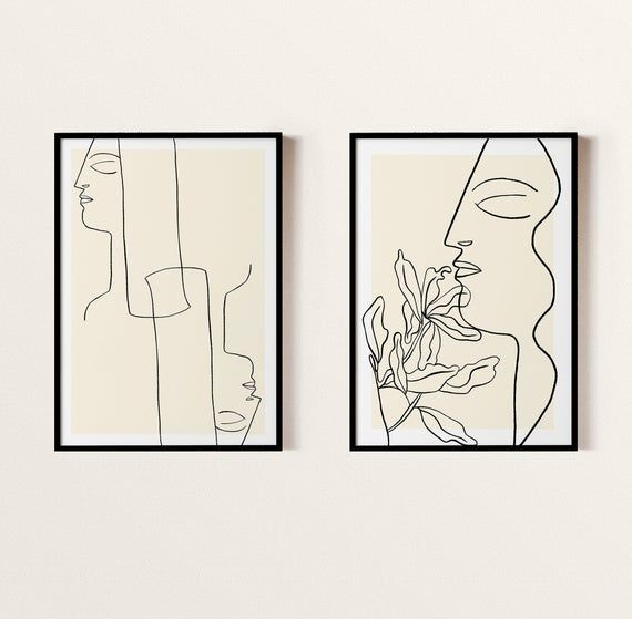 Abstract Line Art Set Of 2 One Continuous Line Print Minimalist