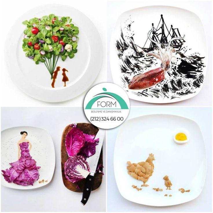 Bu aralar çok trend olan tabaklarda yapılan sanatları gördünüz mü?  #FormBeslenme #MutluPazarlar #TabaktaSanat #Yemek