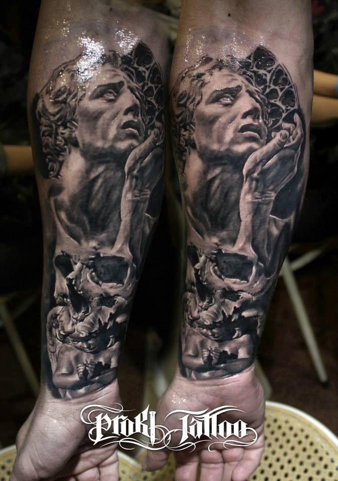 Angel Statue Tattoo Sleeve Tattoo sleeve idea on