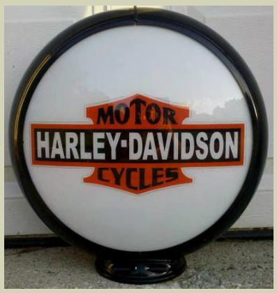 HARLEY MOTORCYCLE GAS PUMP GLOBE SIGN. $199.00 on GoAntiques. #vintage #sign #decoration #art