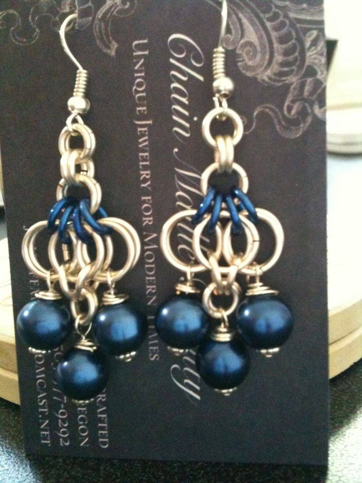 #123 --Silver fill and deep blue rings with 6 monaco blue satin pearl dangles -completed 3-22-13  *Sold 4-6-13