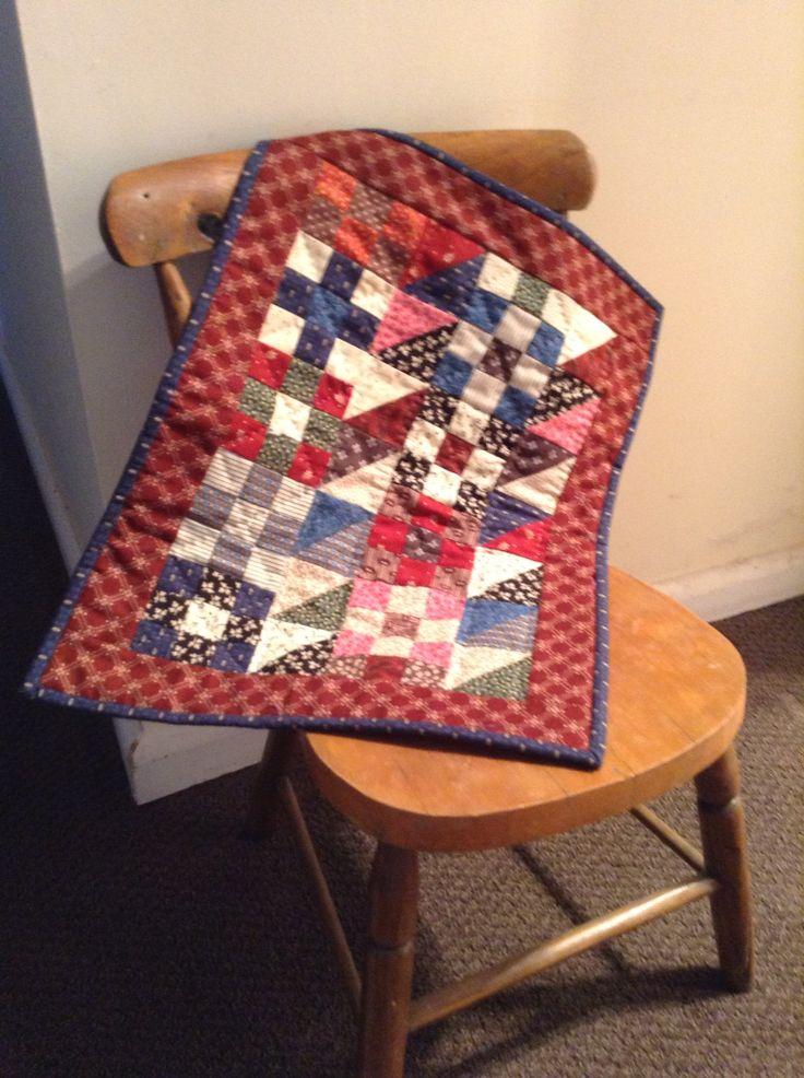 Schoolgirl sampler miniature quilt