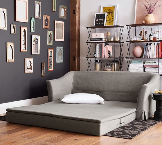 """SoMa Brady Slope Arm Slipcovered Sleeper Sofa DIMENSIONS Sleeper Sofa Overall: 78.75"""" wide x 34"""" deep x 33"""" high Diagonal Depth: 31.5"""" Seat Depth (from edge of seat to front of back): 34"""" deep Mattress: 75"""" wide x 65.5"""" deep x 2"""" thick Weight Capacity: 400 pounds Mattress Pad Overall (Queen): 75"""" wide x 65"""" deep x 2"""" thick"""