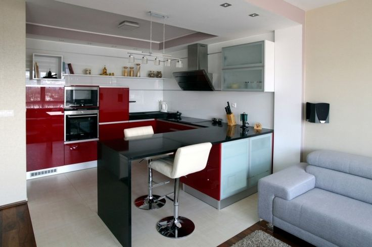 Interior Modern Apartment Design: Singular Solitary Alone Modern Apartment Style With Gray Bluish Fabric Loverseat Plus Same Color High Pile Rug On Dark Wooden Laminate Floor Besides Bar Table Set