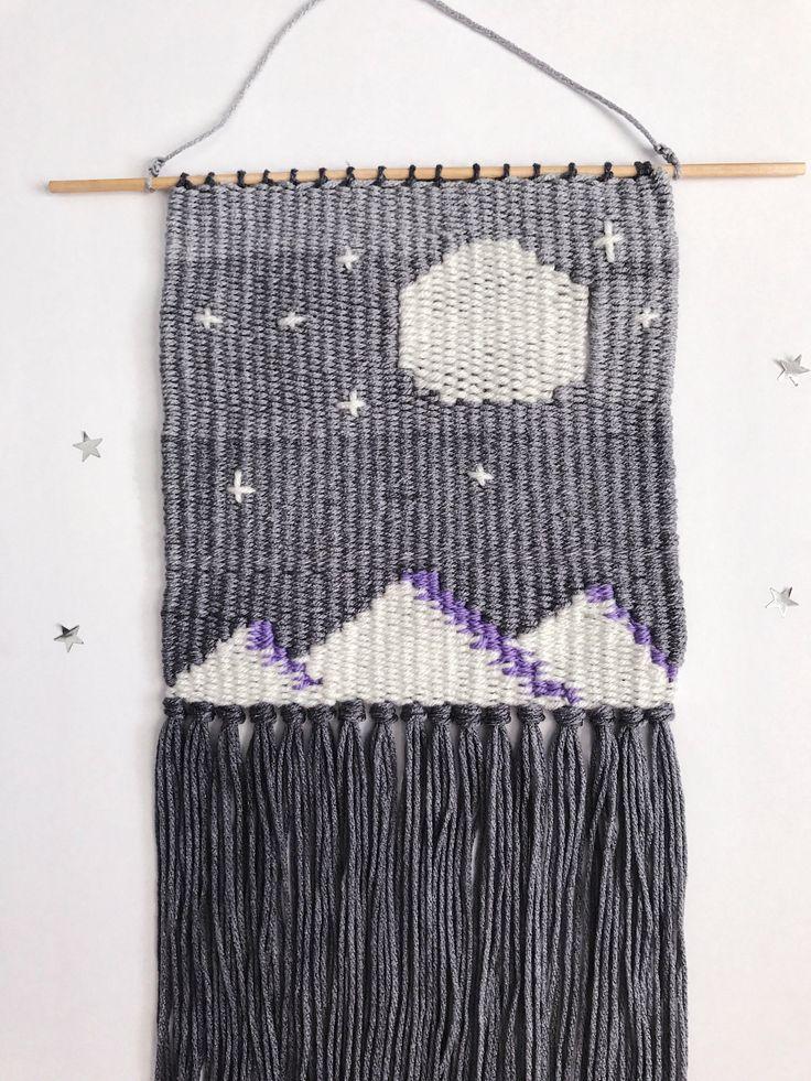 Mountain, Moon, Stars Weaving Wall Hanging, Woven Wall Hanging, Woven Textile Art, Bohemian Wall Art, Boho Chic Decor, Boho Decor, Landscape