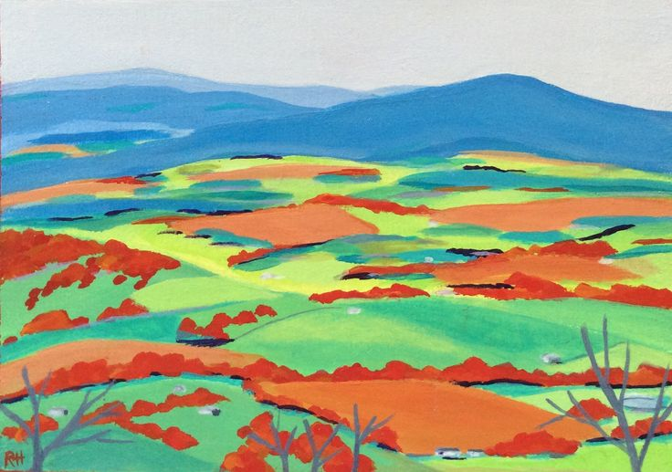 Dixons Creek Valley. Acrylic on wood by Robyn Henchel.