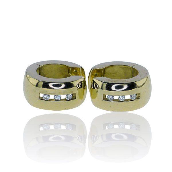Diamant-Creolen 585 Gelbgold mit 6 Diamanten von 0,119ct #Vintage #Schmuck #gold #2ndhand