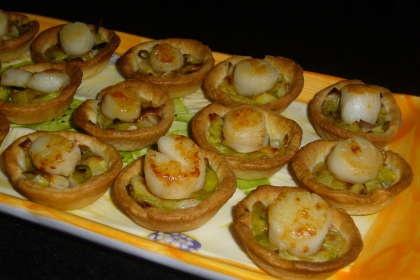 Mini-tartelettes Fondue de poireaux / Noix de St Jacques (sans c