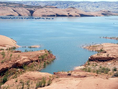 Bullfrog Marina, Glen Canyon National Recreation Area. Lake Powell is the second largest man-made lake in the US and without doubt the most scenic, stretching 186 miles across the red rock desert from Page, Arizona to Hite, Utah, USA