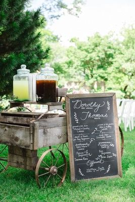 drink station on old-fashioned wooden cart and chalkboard sign lemonade iced tea/Maybe we could use the wagon for this + the gifts?? Would it be hard to reach the drinks?