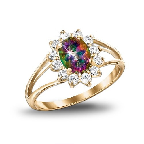 yellow gold and mystic topaz ring jewelry gift for her by the bradford exchange wedding yellowrainbow - Rainbow Wedding Rings