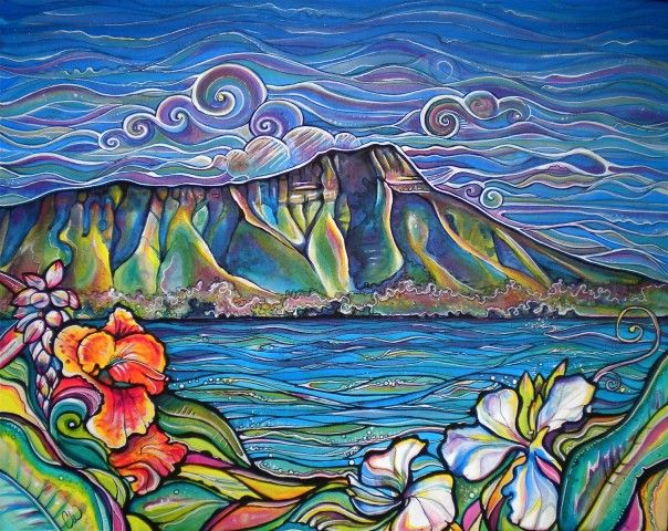 """Diamond Head Wonder   Colleen Wilcox Art  View of Diamond Head from Waikiki  Acrylic on Canvas  24""""x30""""  Original: Sold  Prints: Available, click Buy This Now (above)"""