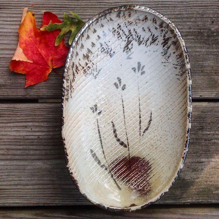Just out of the kiln #shinoglaze #handbuiltpottery #ceramics #whitestoneware #cone6 #mapleleaves