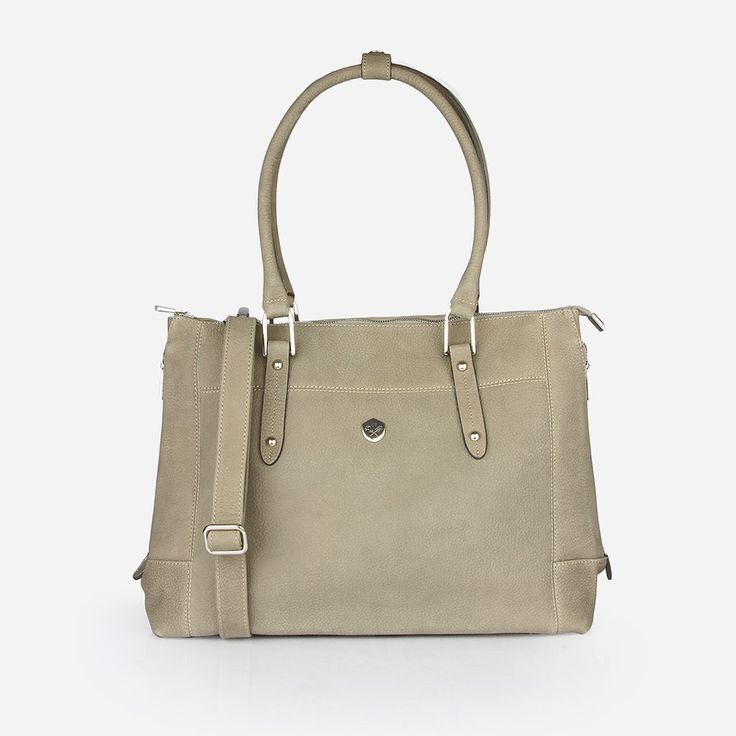 "The Perfect Handbag - the perfect tan grey soft leather handbag that fits a 15"" laptop - Poppy Barley"