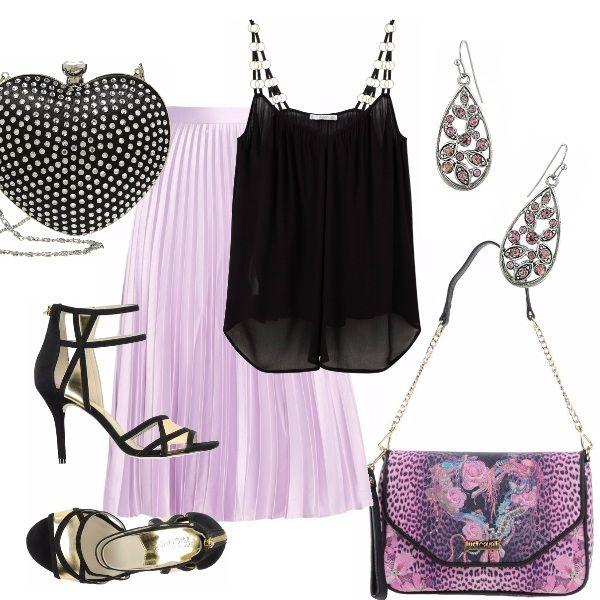 Una ricorrenza importante: le nozze d'argento! Ho pensato ad un outfit elegante ma piuttosto semplice. Gonna plissettata lilla, accompagnata da top nero. Sandalo nero alto. Pochette a cuore, oppure tracollina in fantasia. Orecchini pendenti con pietre rosa.