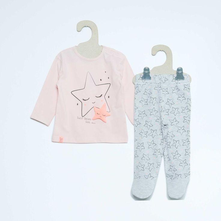 Pyjama long imprimé 'Etoiles' Bébé fille - Kiabi - 6,00€