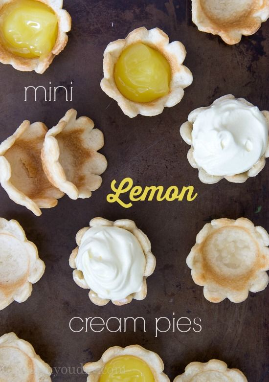 Mini Lemon Cream Pies - idea only - make lemon curd and pie crust from scratch - similar to what I've made before