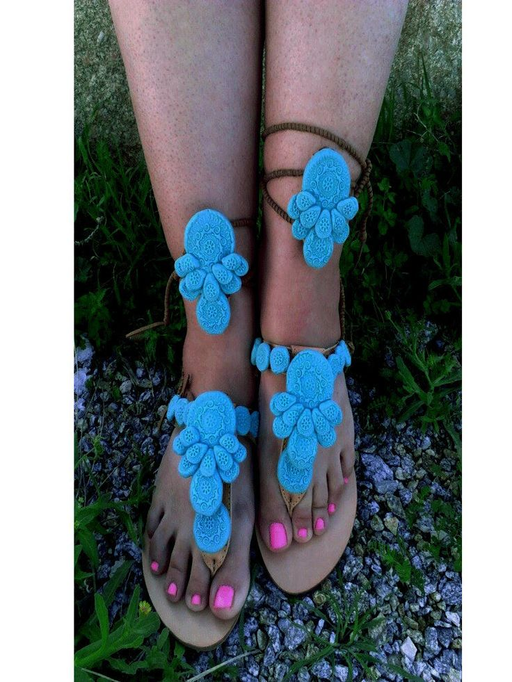 Boho,gladiator,  tie up greek sandals,''GYPSY  TURQUOISE'',decorated with handmade porcelain  motifs by boutiqueofsandals on Etsy
