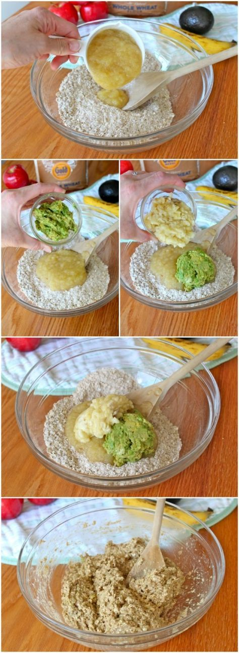 Baby Food Muffins made with avocado, banana, apple (no egg, no sugar, no butter; try substituting quick oats with baby oatmeal).