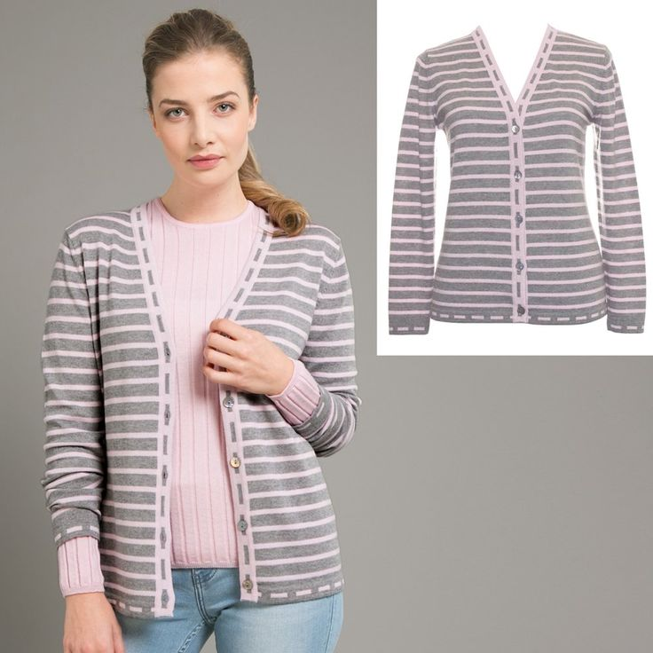 Royal Merino Striped CardiganClassic stripes with vertical dash detail to lengthen and flatter.- V-neckline- Button closure- Full length sleeves- Made in New Zealand from 100% Merino
