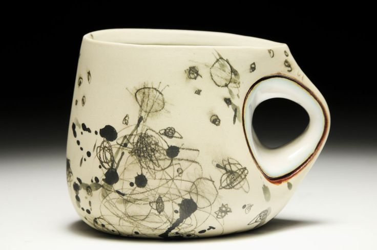 Audrey Rosulek,  Mug  Porcelain, glaze, underglaze pencil, wheel thrown and altered, cone 6 electric, 3.5 x 4.5 x 3.5 inches.
