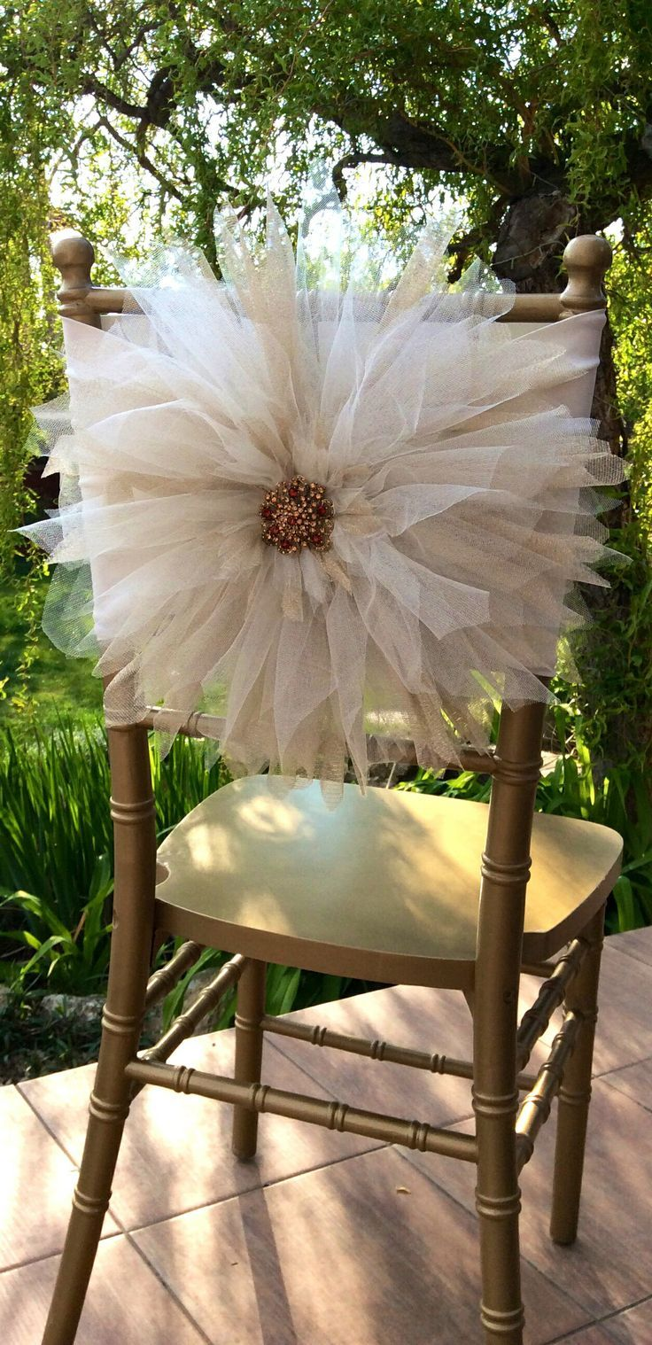 163 best diy tulle wedding decorations images on pinterest wedding chair dcor with tulle junglespirit Gallery