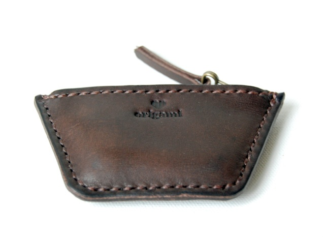 Small Dark Brown Leather Coin Pouch.